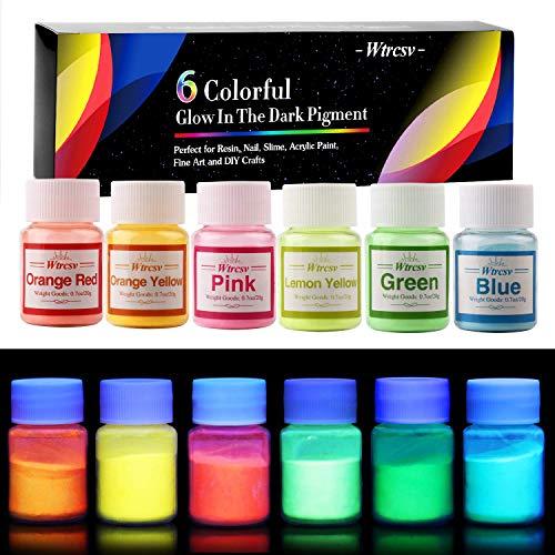 Wtrcsv Poudre phosphorescente luminescente, 120g Fluo Poudre Lumineuse, poudre Coloré, Phosphorescente Autoluminescente - brille dans Le Noir (20g x 6couleurs)