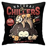 BKOGAL Throw Pillow Cover Soft Square Throw Pillow Case Home Decorative for Bed Couch Sofa Farmhouse Cushion Cover Both Sides (18'x18') - Poke Snorlax Born Chillers