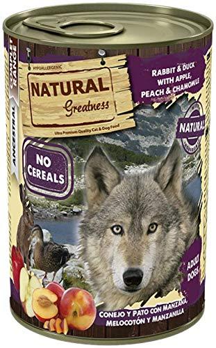 Natural Greatness Comida Húmeda para Perros de Conejo y Pato con Manzana, Melocotón y Manzanilla. Pack de 6 Unidades. 400 gr Cada Lata