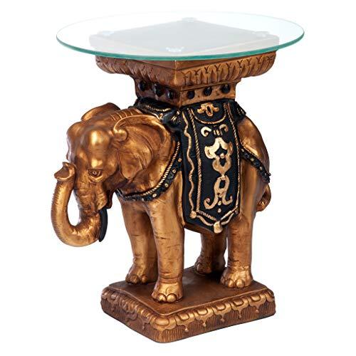 Design Toscano Table sculpturale éléphant Maharajah surmontée d'un plateau en verre