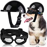 Pet Dog Helmet and Dog Goggles Set 4 Inch Padded Pet Motorcycle Helmet Dog Sunglasses Safety Pet Cap Dog Hard Hat Adorable Puppy Goggles with Adjustable Belt for Small Dog Riding Outdoor (Black)