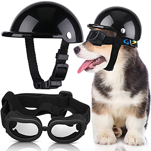 Pet Dog Helmet and Dog Goggles Set 4 Inch Padded Pet...