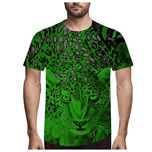 Yowablo Shirt Femme Elegant Shirt Femme Grande Taille T Shirt Tops Hommes Mode Nouveauté LéOpard 3D Imprimer O-Neck Blouse À Manches Courtes (XXL,1Vert)