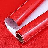 Papel Adhesivo para Muebles Rojo 40cm X 3m Vinilo Pegatina Autoadhesivo Decoración De La Pared Gabinetes De Cocina Escritorio Cajón DIY Pegatina (Rojo)