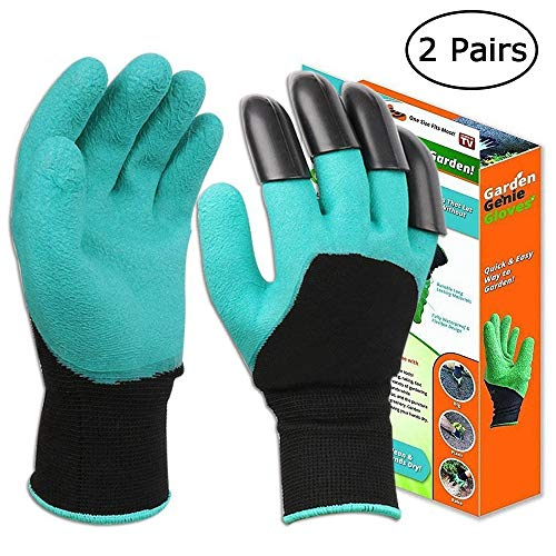 SHOUPI 1 Pair Garden Gloves 4 ABS Plastic Garden Genie Rubber Gloves With Claws Quick Easy to Dig and Plant,Green-B Fork Claws