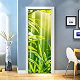 KEXIU 3D Bosque de bambú verde sol PVC fotografía adhesivo vinilo puerta pegatina cocina baño decoración mural 77x200cm