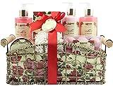 BRUBAKER Cosmetics - Coffret de bain & douche - Vanille/Pivoine - 13 Pièces - Panier rétro décoratif - Idée cadeau