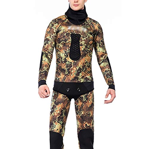 Tauchanzug Wetsuit neoprenanzug Neoprenanzug Mit Kapuze 3,5 Mm Dicker, Warmer, Einteiliger Neopren-Surfanzug Aus Neopren In Übergröße Sonnenschutz-Badeanzug ( Color : Multi-colored-B , Size : XG )