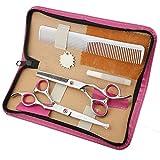 JKCKHA Tijeras de peluquería Profesional Principal Redonda de la Corte Plano Bangs Corta los Dientes de Corte Fino Corte Inicio del Corte de Pelo Set (Color: Rosa)