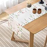 Smurfs Yingda Tischläufer Druck-Motiv mit Blumenmuster Vintage Frühling Schmetterlinge Tischdecke Tischband Polyester abwaschbar weiß 35x180cm - 2