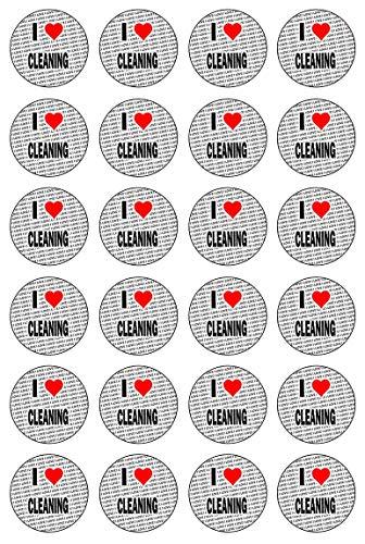 AK Giftshop Ik hou van schoonmaken - 24 eetbare Cupcake Toppers Taart Decoraties - Gemakkelijk Precut Cirkels