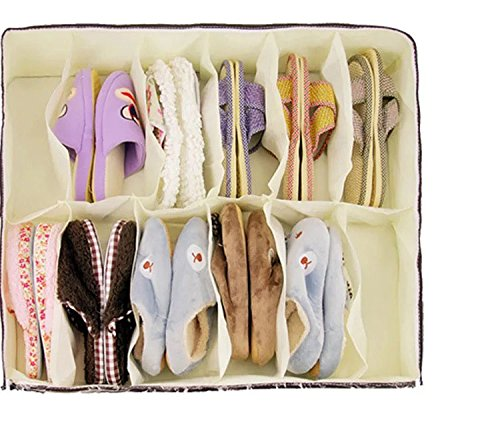 VONOTO 12 Pairs Under Bed Shoe Organizer for Kids and Adults, Underbed Shoes Closet Storage Solution - Made of Breathable Materials with Front Zippered Closure – Easy to Assemble