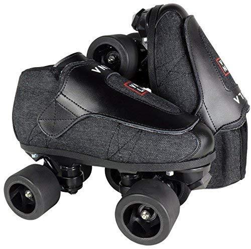 VNLA Stealth Jam Skates | Quad Roller Skates from Vanilla – Indoor Speed Skates – Denim and Leather – for Tricks and Rhythm Skating (Matte...