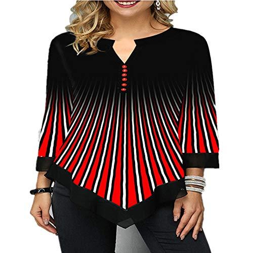 JCZX Camiseta Holgada Irregular con Cuello En V Y Estampado En 3D De La Calle Summer para Mujer