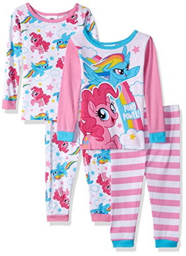 My Little Pony Girls Magical 4-Piece Cotton Pajama Set, Neon Ponies, 18M