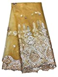 Lowest Hot Sale 2019 Newest Royal Blue Nigeria Lace Fabric 5YARDS Sequins Lace Fabric Lace Fabrics Style Gold Yellow Green Purple African Lace Wedding Dress/Evening/Show Dress