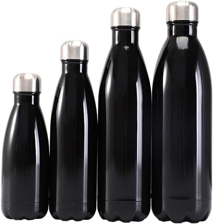 Botella de Agua, Botella de vacío de Acero Inoxidable de Doble Pared,termostato 350/500/750/1000ml,frío y Caliente, diseño a Prueba de Fugas para Correr,Montar en Bicicleta,Negro,350ml