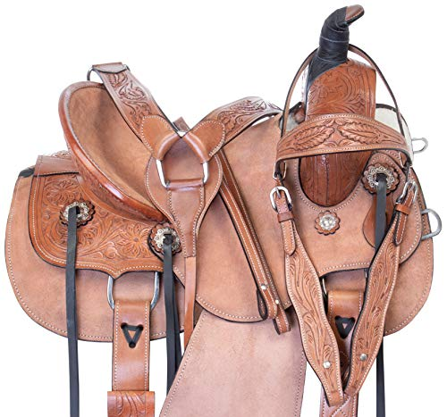 "Acerugs 12"" 13"" 14' Rough Out Youth Kids Western Children Ranch Work Roping Leather Horse Saddle TACK Set (13)"