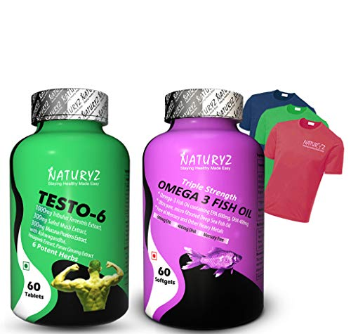 Naturyz (Testo-6 Plant based Supplement For Men 2100mg for Muscle gain, Stamina N60 & Triple Strength Omega 3 Fish Oil 1000mg Supplement For Men & Women) N60 (combo pack with free T shirt )