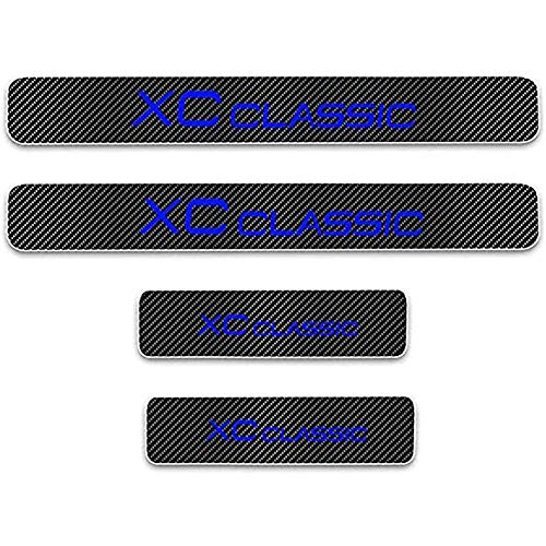 ZGYAQOO 4 Pcs Car Carbon Fiber Leather Door Sill Kick Plates for Volvo XC Classic, Scuff Plate Guard Protector Trim Sticker, with High Intensity Reflective Tape