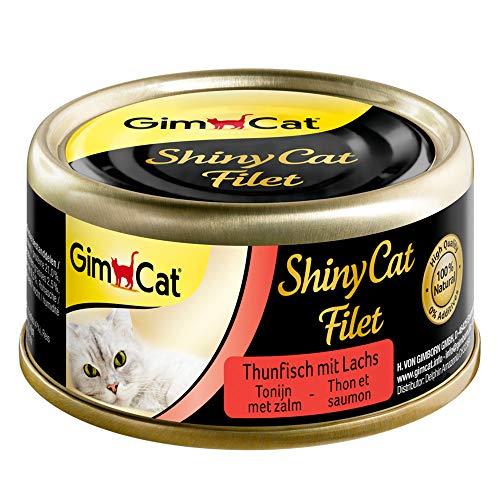 GimCat Shiny cat filet Alimento para gatos adultos sin azucar y gluten, Atún con salmón, 24 x 70 g