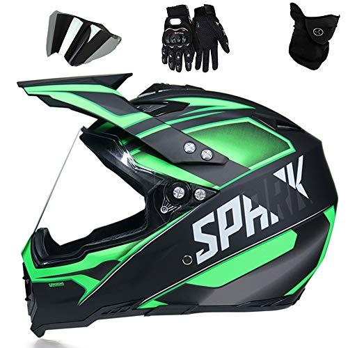 QYTK Casco Motocross Adulto Set con Desmontable Gafas Visera Casco Integrales Moto...