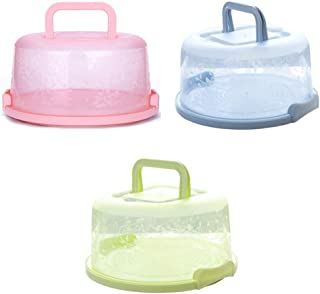 Vaorwne 3 x Plastic Round Cake Box Carrier Handle Pastry Storage Boxes Dessert Container Cover Case Birthday Wedding Party Kitchen