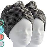 ELEXACARE Haarturban, Turban Handtuch mit Knopf (2 Stück anthrazit), Mikrofaser Handtuch für Kopf...