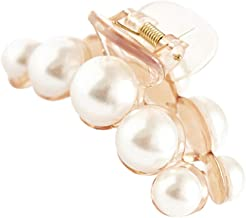 Prettyia 2Pcs Women Non-Slip Hair Clips Large Pearls Hair Claws for Thick Hair