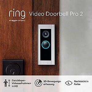Ring Video Doorbell Pro 2 von Amazon, Ganzkörper-Videoaufnahmen in HD, 3D-Bewegungserfassung, festverdrahtete Installation, Mit 30-tägigem Testzeitraum für das Ring Protect-Abonnement