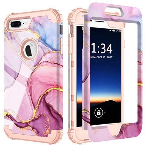 PIXIU Compatible with iPhone 8 Plus Case/iPhone 7 Plus case,Three Layer Heavy Duty Hybrid Sturdy Armor Shockproof Protective Phone Cover Cases for Apple iPhone 8 Plus/7 Plus (Purple Marble)