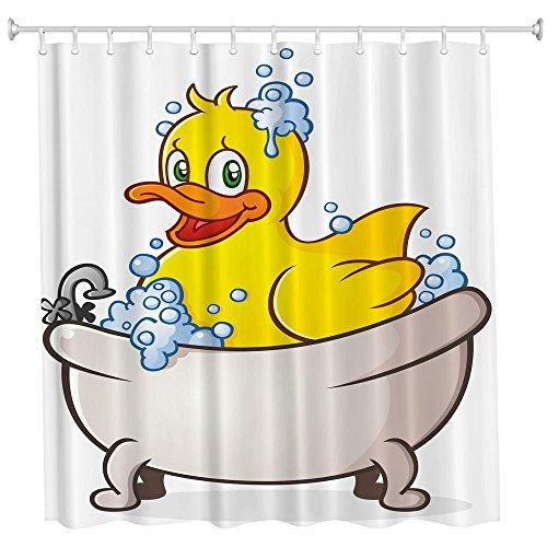 Perfectii Duschvorhang Badewannenvorhang, Schimmelresistenter & Wasserabweisend Ente 3D Gedruckt Badvorhang, 180x180cm mit 12 Ringe