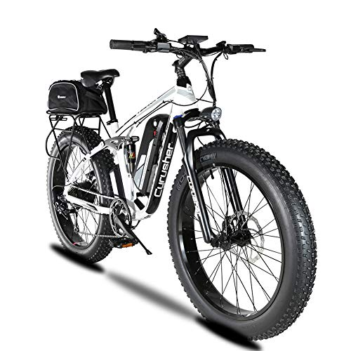 Cyrusher Upgraded XF800 Electric Mountain Bike 750W/1500W Upto 35mph 26inch Fat Tire e-Bike 7 Speeds Beach Cruiser Sports Mountain Bikes Full Suspension,Lithium Battery Hydraulic Disc Brakes(White)