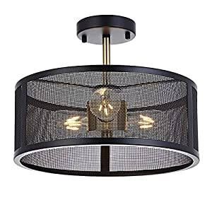 Luburs Ceiling Light Fixture Black Light Fixtures,Semi Flush Mount Lighting with 3 Metal Cage Pendant for Farmhouse Kitchen Bedroom Ceiling,Dinning Room Lights for Ceiling