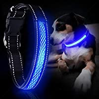 YoYabon Rechargeable Lighted Dog Collar with 3 Flashing Modes