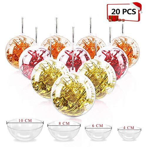 20 Stücke Klar Weihnachtskugeln, 40mm, 60mm, 80mm, 100mm Weihnachtsschmuck Ball, DIY Kunststoff Füllbare Weihnachtsschmuck Baumkugeln Kugeln Handwerk Transparente Kugel