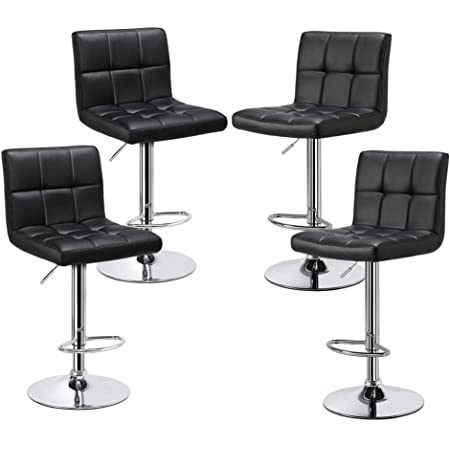 Yaheetech Bar Stools Set Of 4 Modern Adjustable Kitchen Island Chairs Counter Height Barstools Swivel Pu Leather Chair Black 30 Inches X Large Base And Seat Furniture Decor