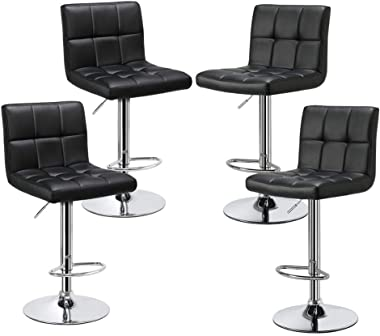 Yaheetech Bar Stools Set of 4 - Modern Adjustable Kitchen Island Chairs Counter Height Barstools Swivel PU Leather Chair Blac