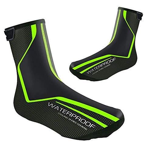 Wodoszczelne osłony na buty rowerowe, zimowe, wyścigowe, termiczne, ciepłe buty dla mężczyzn i kobiet, MTB (zielone, EU43-46 (UK9.5-11.5))