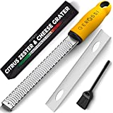 Stainless Steel Cheese and Citrus Zester Grater w/Extra Sharp Blade - Perfect for Lemons, Parmesan, Garlic, Chocolate - Spice Up any Kitchen Dish in Seconds with Your Premium Hand Held Shredder