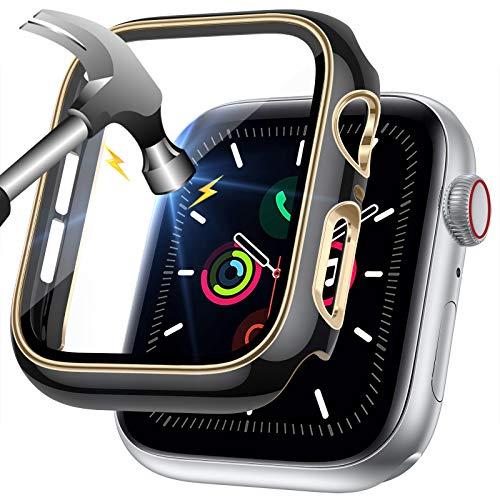 LORDSON Funda Compatible con Apple Watch Series SE / 6/5/4 40 mm, Estuche de Película Protectora de Vidrio Templado, Protector de Pantalla para PC de Dos Tonos - 99,99% HD, Resistente Rasguños