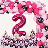 Minnie 2nd Birthday Decorations Minnie Oh Twodles Party Supplies - Kit de arco de guirnalda de globos Feliz cumpleaños Banner Número 2 Globo para niñas de 2 años