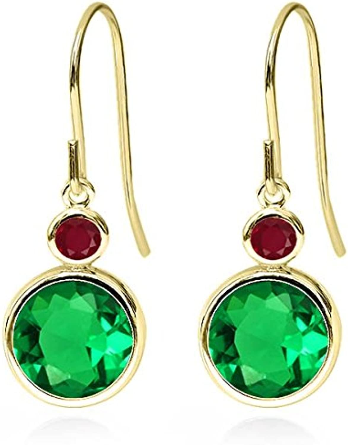 3.58 Ct Round Green Simulated Emerald Red Ruby 14K Yellow gold Earrings