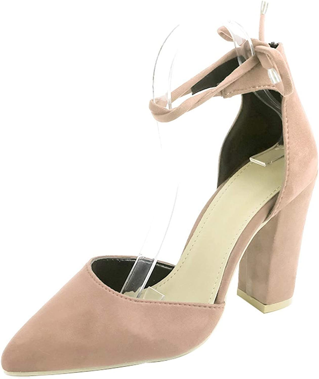 Owen Moll Women Pumps, Sexy High Square Heels Lace Up Flock Pointed Party shoes