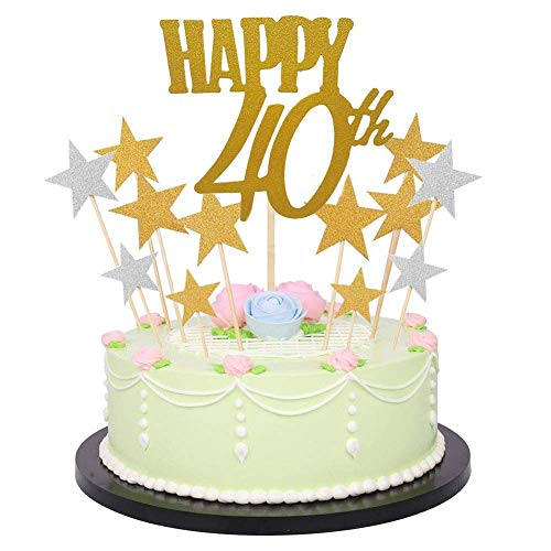 Dusenly Glitzerbuchstaben Happy Birthday Kuchen-Dekoration goldene Zahlen Geburtstag Happy Cake Topper und Glitzer Gold Silber Stern Cake Topper (41) 18–80 40th/Stern