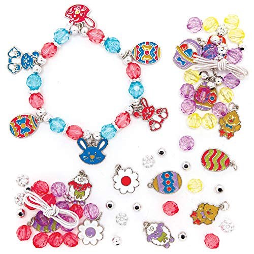 Baker Ross AX799 Easter Charm Bracelet Kits - Pack of 3, Perfect for Easter Crafts, Party Bags and Gifts, Ideal Kids Accessory