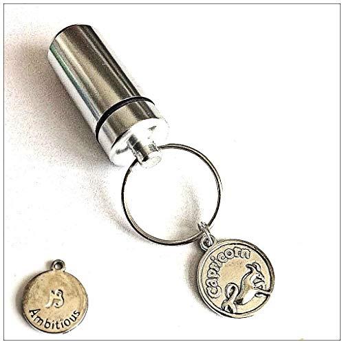 KGS Timeless Memorials - Portachiavi in argento con scomparto segreto per pillole, tabacco, contanti, con simbolo zodiacale