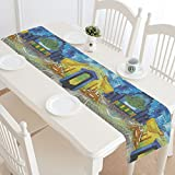 Table Runner 14' x 72' Terrace of A Cafe at Night by Vincent Van Gogh Cotton Linen Placemat