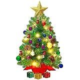 Sunshine smile Pequeño Árbol de Navidad,Mini árbol de Navidad,pequeño árbol de Navidad,Árbol de Navidad Artificial,Mini Árbol Navidad con Luces LED y Adornos,Manualidades Navideñas (A)
