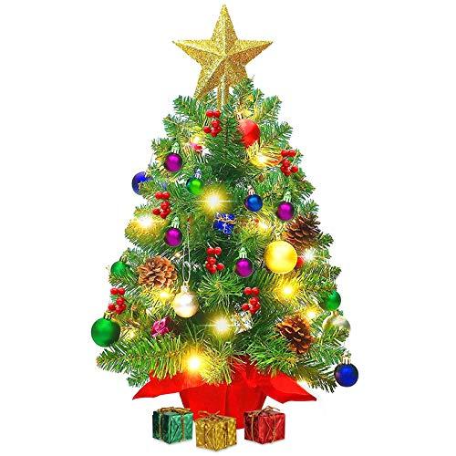 Sunshine smile Alberi per Fai da Te Home Decor,Albero di Natale Piccolo,Mini Alberi di Natale,Mini Alberi di Natale Artificiali, Finte Piccolo Alberelli con luci e Ornamenti a LED (A)